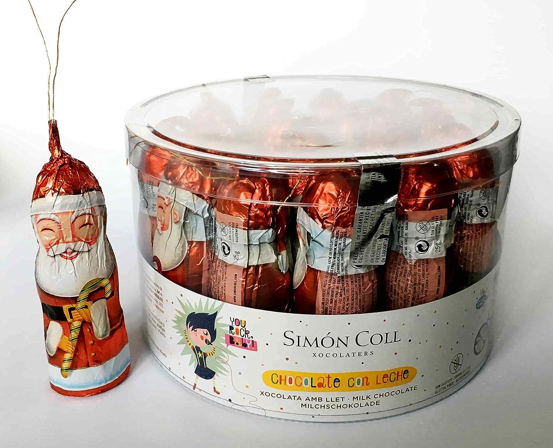 Papa Noel Chocolate con Leche para colgar en Arbol de Navidad SIMON COLL 20 ud (500 g): Amazon.es: Alimentación y bebidas