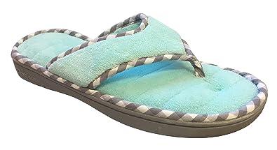 3a373813b89 Dearfoams Women s Memory Foam Flip-Flop Terry Thong Sandals (Small 5-6