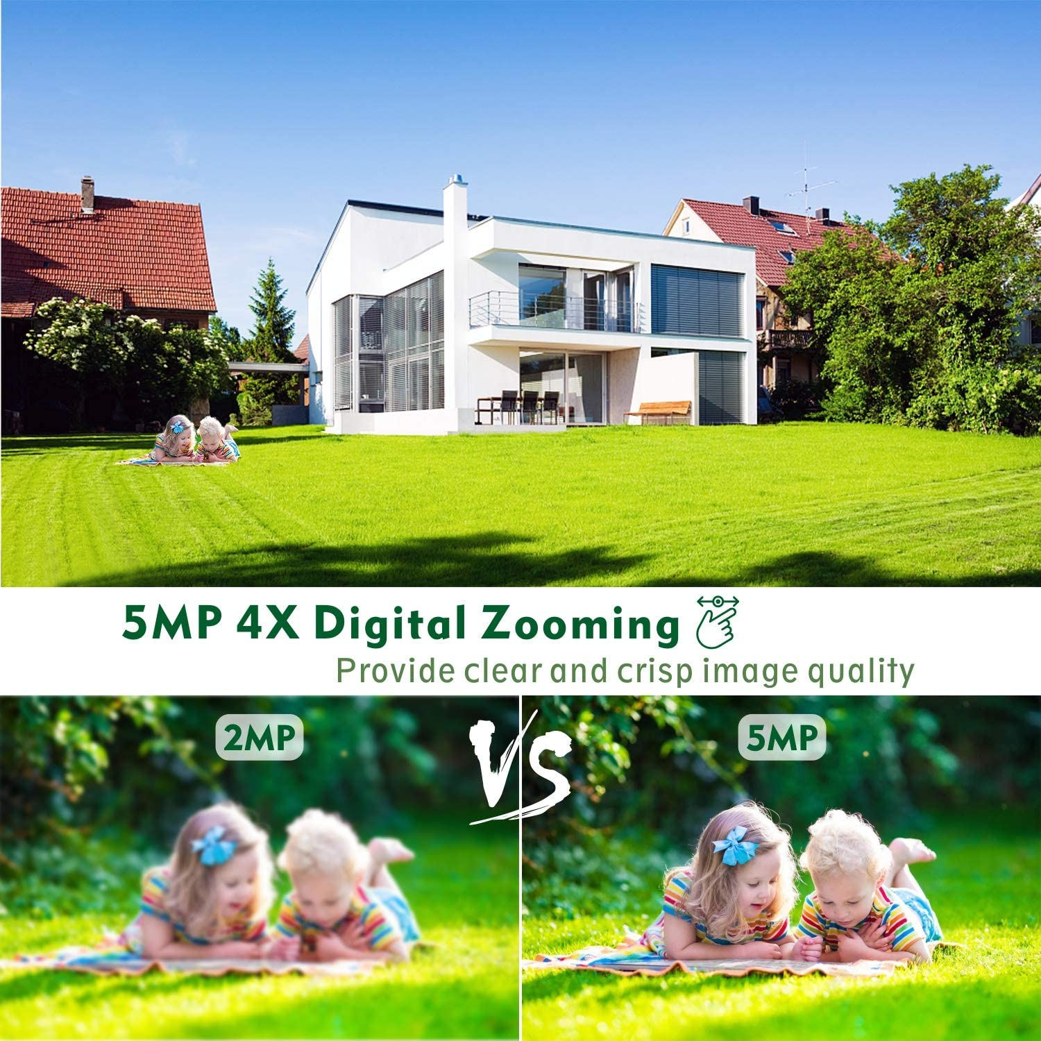 5MP Security Camera Outdoor 2560/×1920 TOCWOC Home Surveillance Camera with Pan//Tilt Waterproof Wi-Fi Camera Color Night Vision 2-Way Audio Human Detection Auto Tracking and Cloud//SD Slot Storage