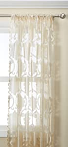 Regal Home Collections Milawi Sheer Jacquard Scroll Rod Pocket Window Panel, 54 by 84-Inch, Beige