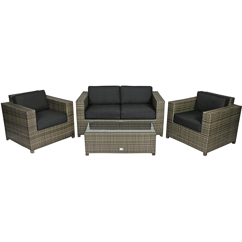Loungeset Lounge Möbel Gartenmöbel 4-teilig Lugo Stone 145/100/83 cm