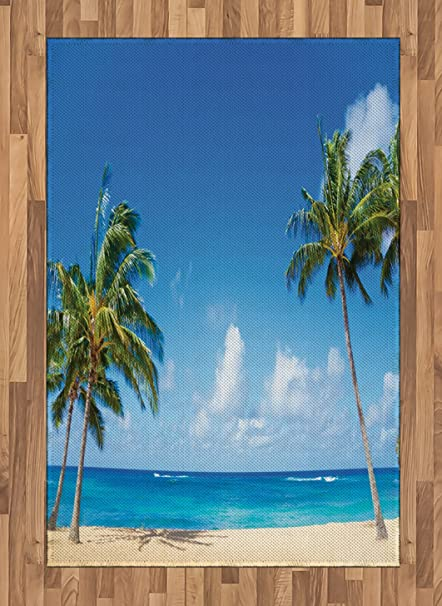 Lunarable Hawaiian Area Rug Windy Exotic Island With Tropical Trees Calm Beachy Theme Ocean Photography