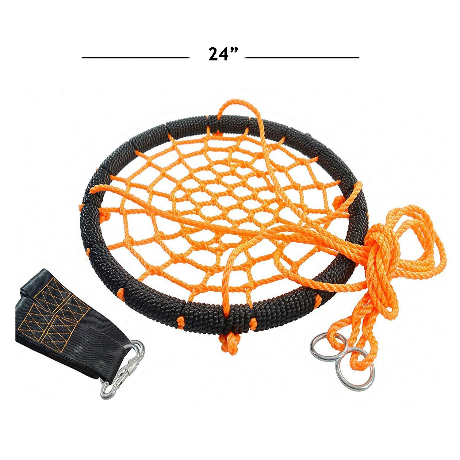 Outroad Web Swing - Great for Tree, Playground, Playroom - 24 Inch Outdoor Spider Net Swing for Kids, Orange, with 2 Extra 60 inch Hanging Straps by OUTROAD OUTDOOR CAMPING GARDEN PATIO (Image #2)