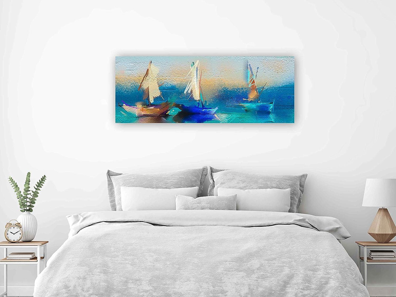 Oedim Cuadro Panorámico PVC Impresión Digital Pintura Barcas | Multicolor | 150 x 60 cm | Cuadro Panorámico para Pared, Resistente y Económico