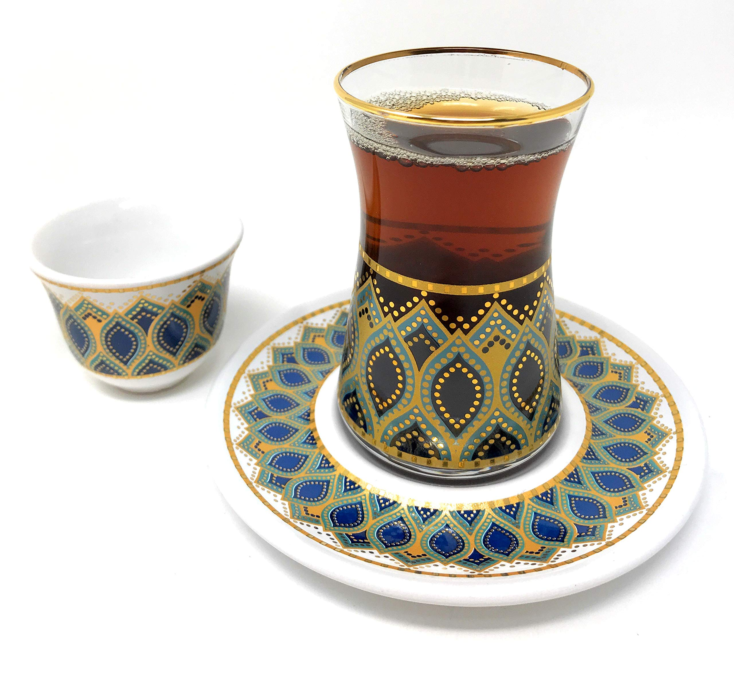 18 Piece Handmade Turkish Tea Glasses and Saucers Set with Arabic Mirra Coffee set -Set of 6 (Art Design #7)