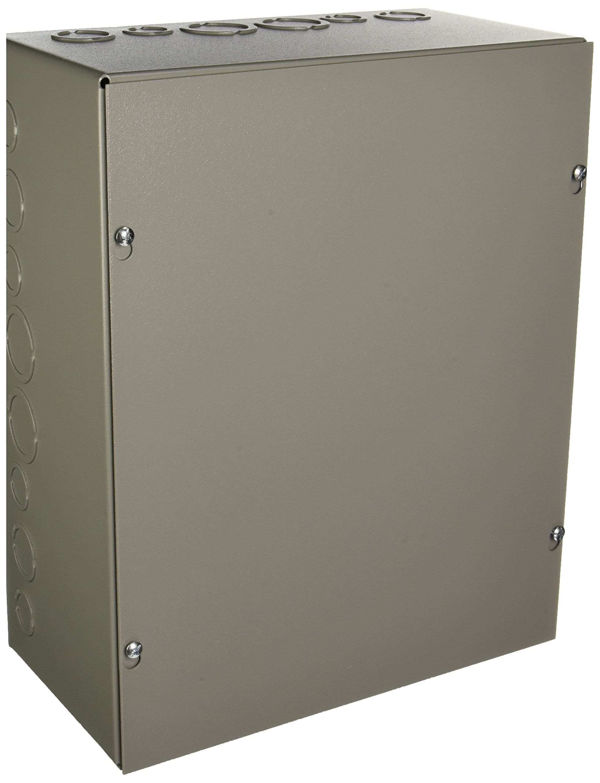 Wiegmann SC121506 SC-Series NEMA 1 Screw Cover Wallmount Pull Box with Knockouts, Painted Steel, 15'' x 12'' x 6''