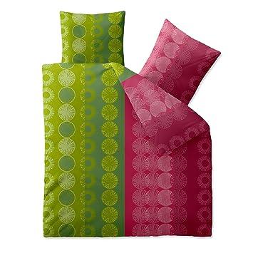 Bettwasche 200x200 Baumwolle Trend Dafina Streifen Kreise Grun Pink
