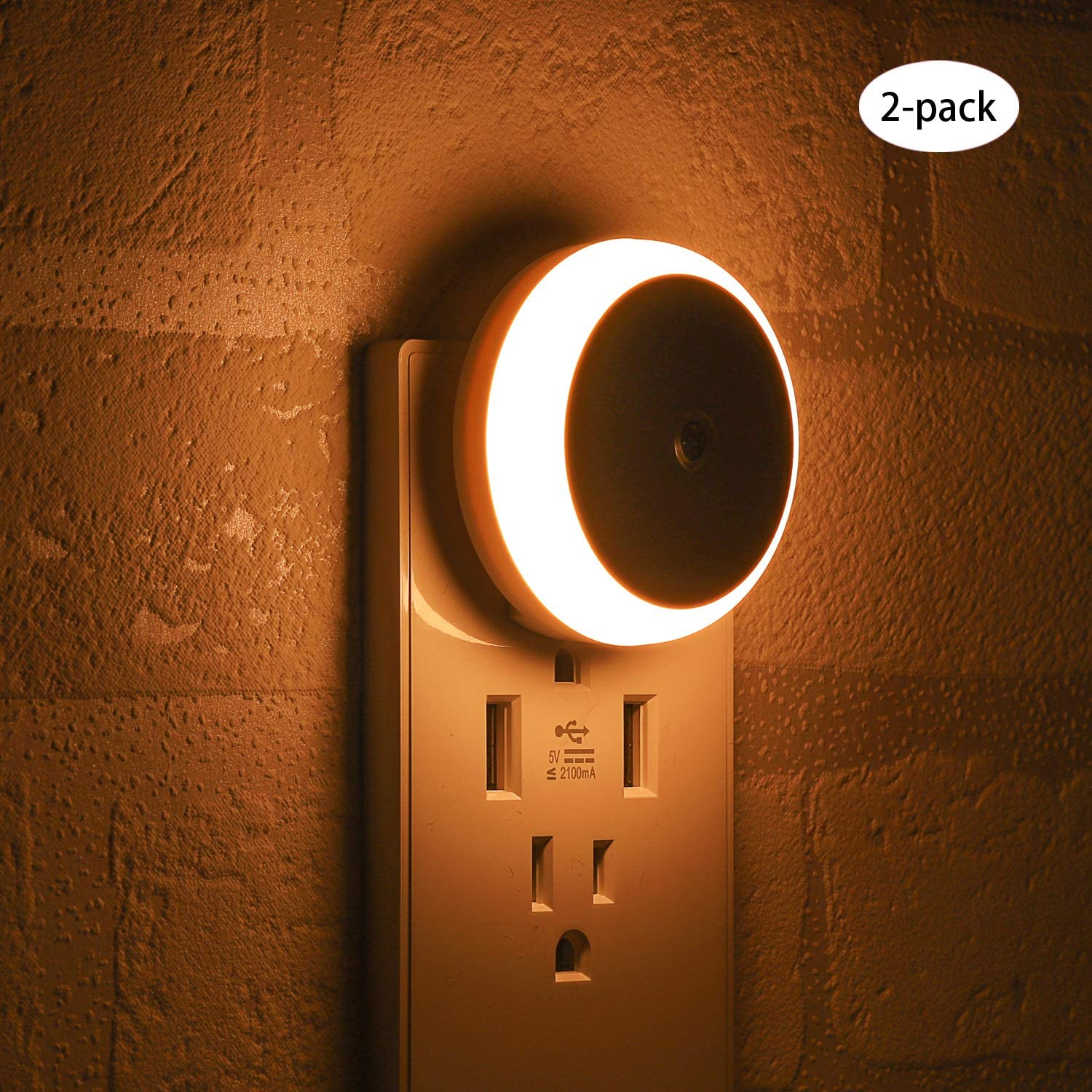 LED Night Light, with Dusk to Dawn Sensor, Diffused Light, Energy Efficient, Plug in Night Light for Bedroom, Bathroom, Kitchen, Hallway, Stairs, Kids Room, Warm White, 2 Pack