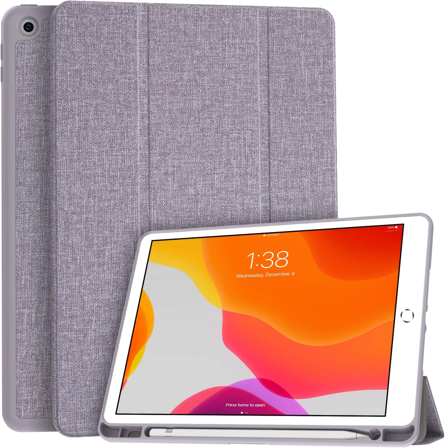 Soke New iPad 10.2 Case with Pencil Holder, iPad 8th Generation 2020/7th Generation 2019 Case-Premium Shockproof Case with Soft TPU Back Cover&Auto Sleep/Wake for Apple iPad 10.2
