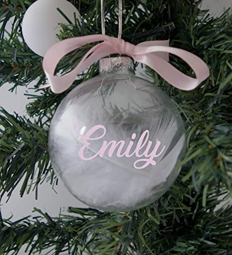 Personalised Baubles Christmas Angel Star Pink Boy Xmas Tree Decorations Name