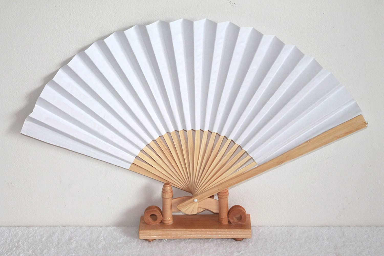 AAF Nommel®, 100 STK. Hochzeitsfächer, Papierfächer zum Bemalen in Weiss, Bambusholz Nr. 400