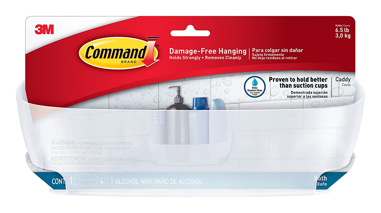 Amazon.com: Command Shower Caddy with Water-Resistant Strips, Clear ...