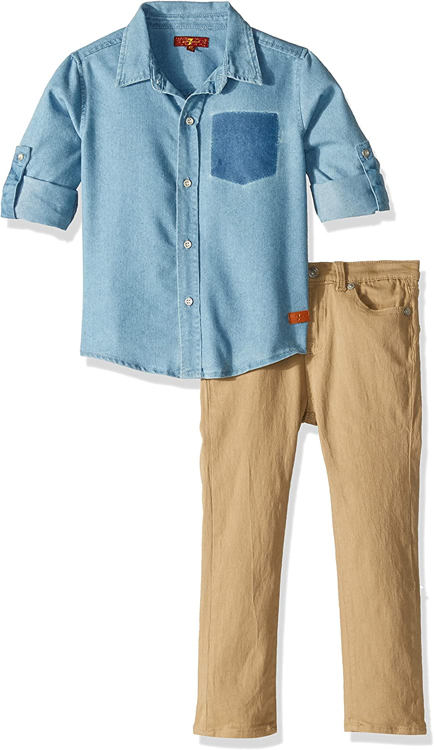 7 For All Mankind Boys Short Sleeve Washed Twill Sport Shirt