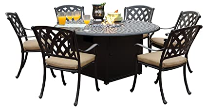 Fantastic Darlee 201630 7Pc 60Gd Cast Aluminum 7 Piece Round Propane Firepit Fire Glass Dining Table Set And Cushion 60 Squirreltailoven Fun Painted Chair Ideas Images Squirreltailovenorg