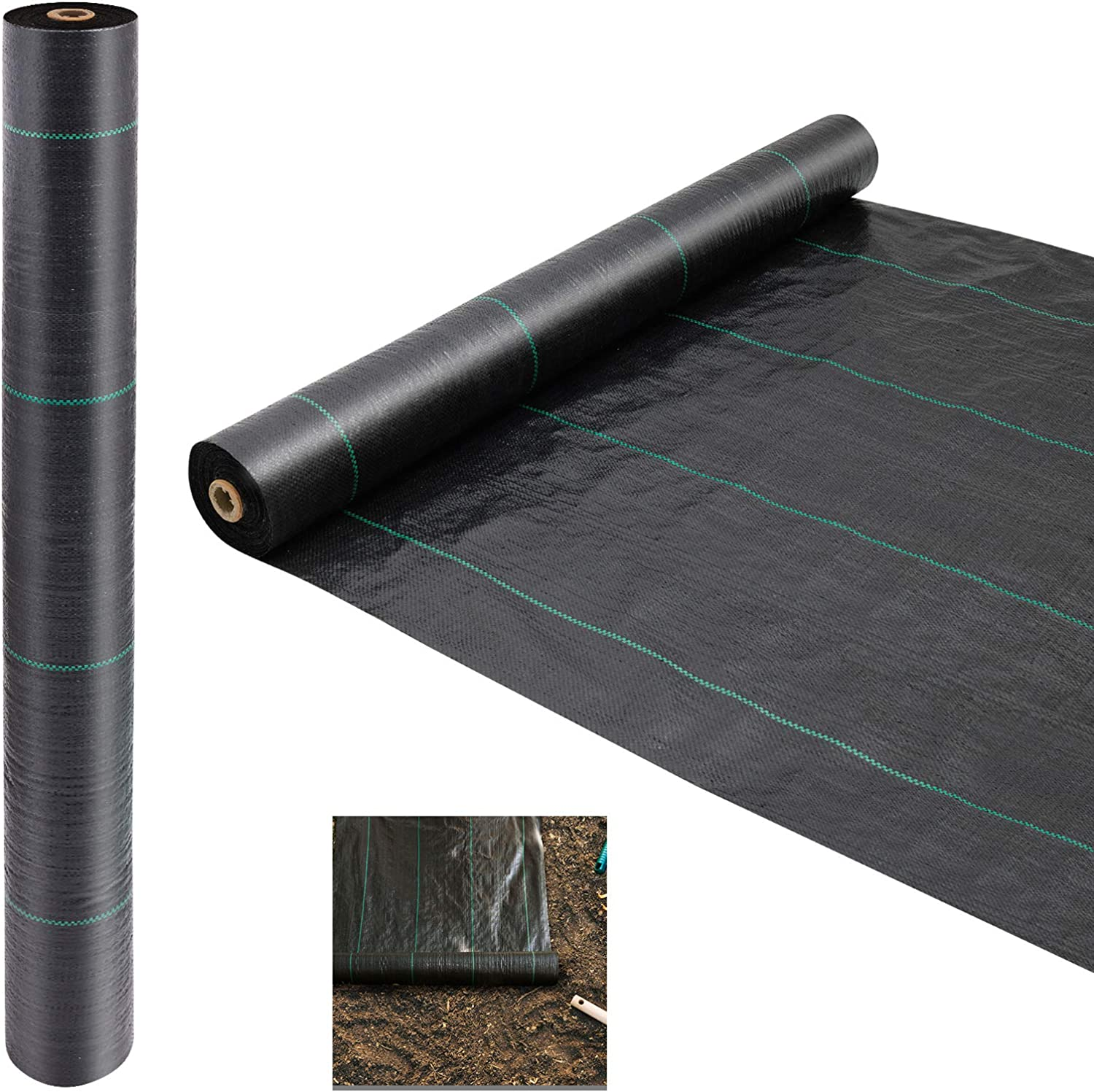 Newtion 3ft x 150ftWeed Barrier Fabricfor Outdoor Gardens,Cover Garden Weed Barrie Landscape Fabric Gardening Mat,Premium Weed Fabric Garden for Flower Bed, Yard,Garden Stakes