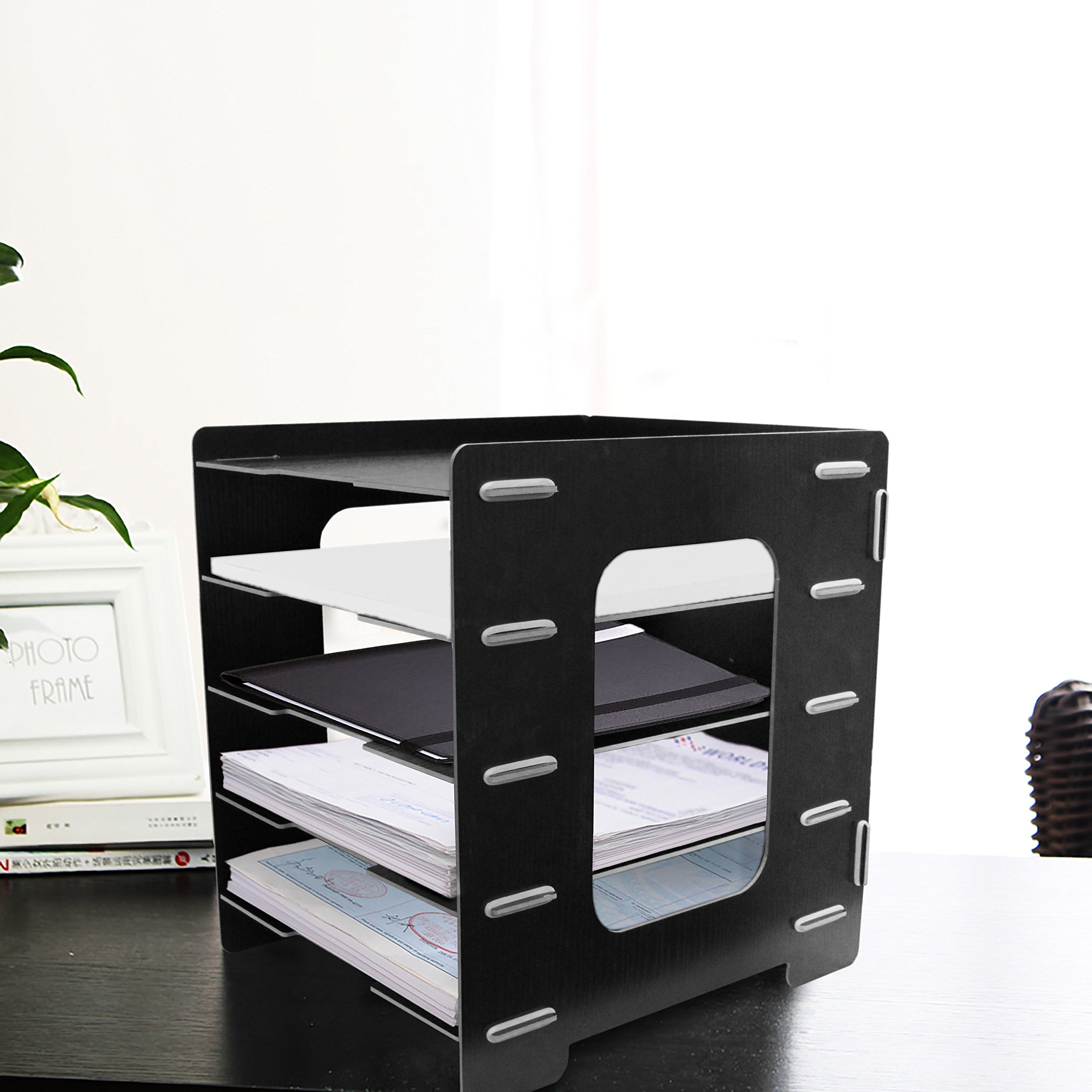 Black Paperstand Foldable Wooden 5 Tier, File Organizer. Heavy Duty, Sturdy Design! By Mega Stationers