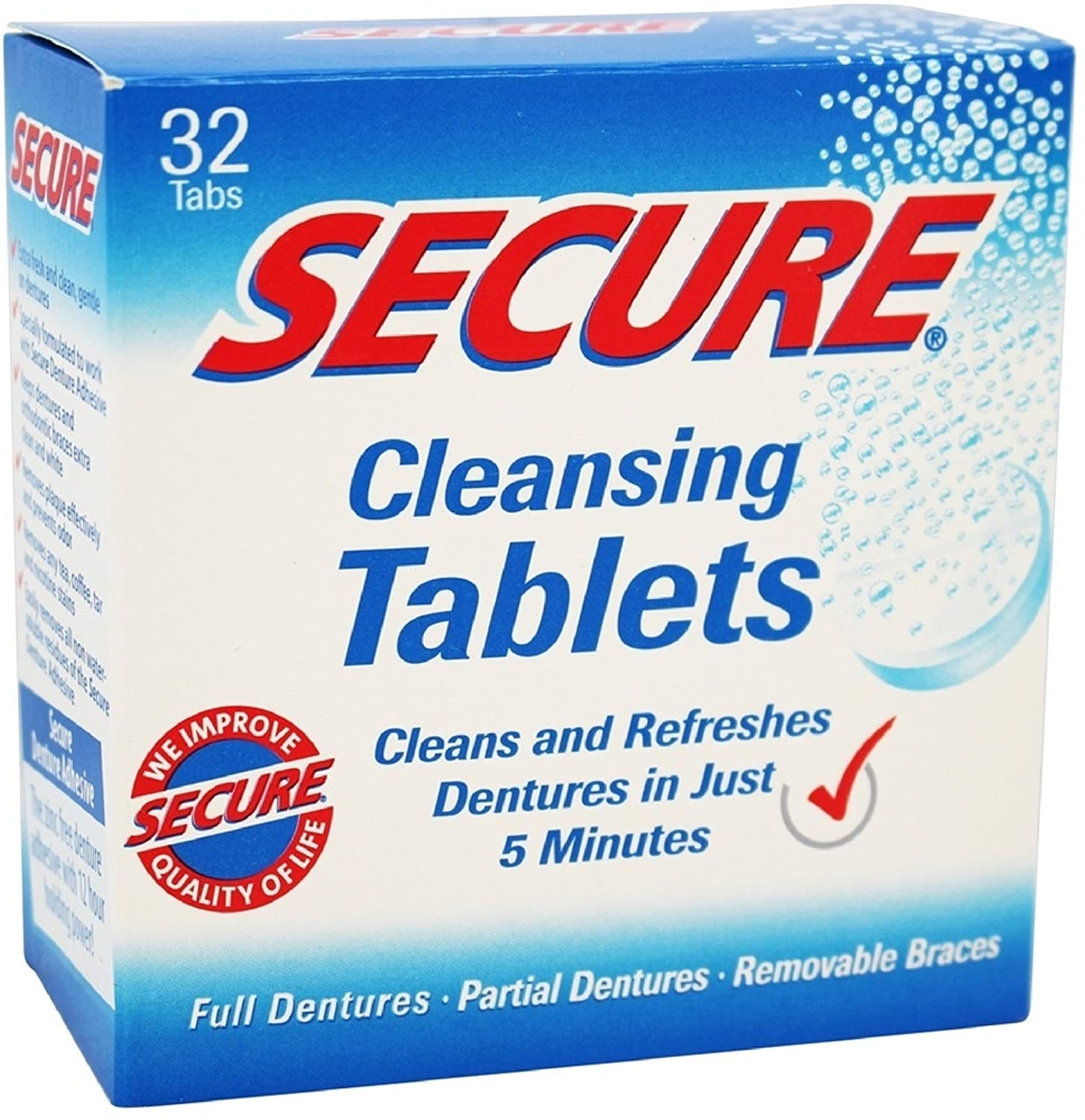 Secure Denture Cleansing Tablets 32 ea (Pack of 3)