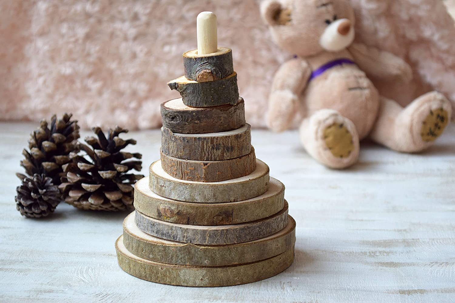 Wooden stacking toy for toddler baby wood stacker Montessori pyramid