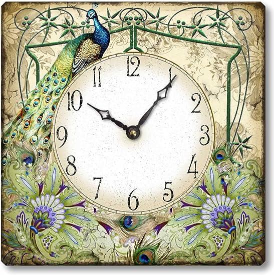 Fairy Freckles Studios Item C7201 Vintage Style Peacock Clock