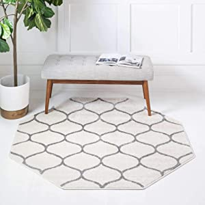Unique Loom Trellis Frieze Collection Lattice Moroccan Geometric Modern Octagonal Rug, 5 Feet, Ivory/Gray