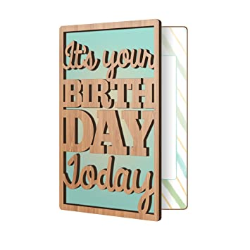 Amazon Happy Birthday Card Real Sustainable Bamboo Wood Greeting Premium Handmade Wooden Gift For Him Or Her Office