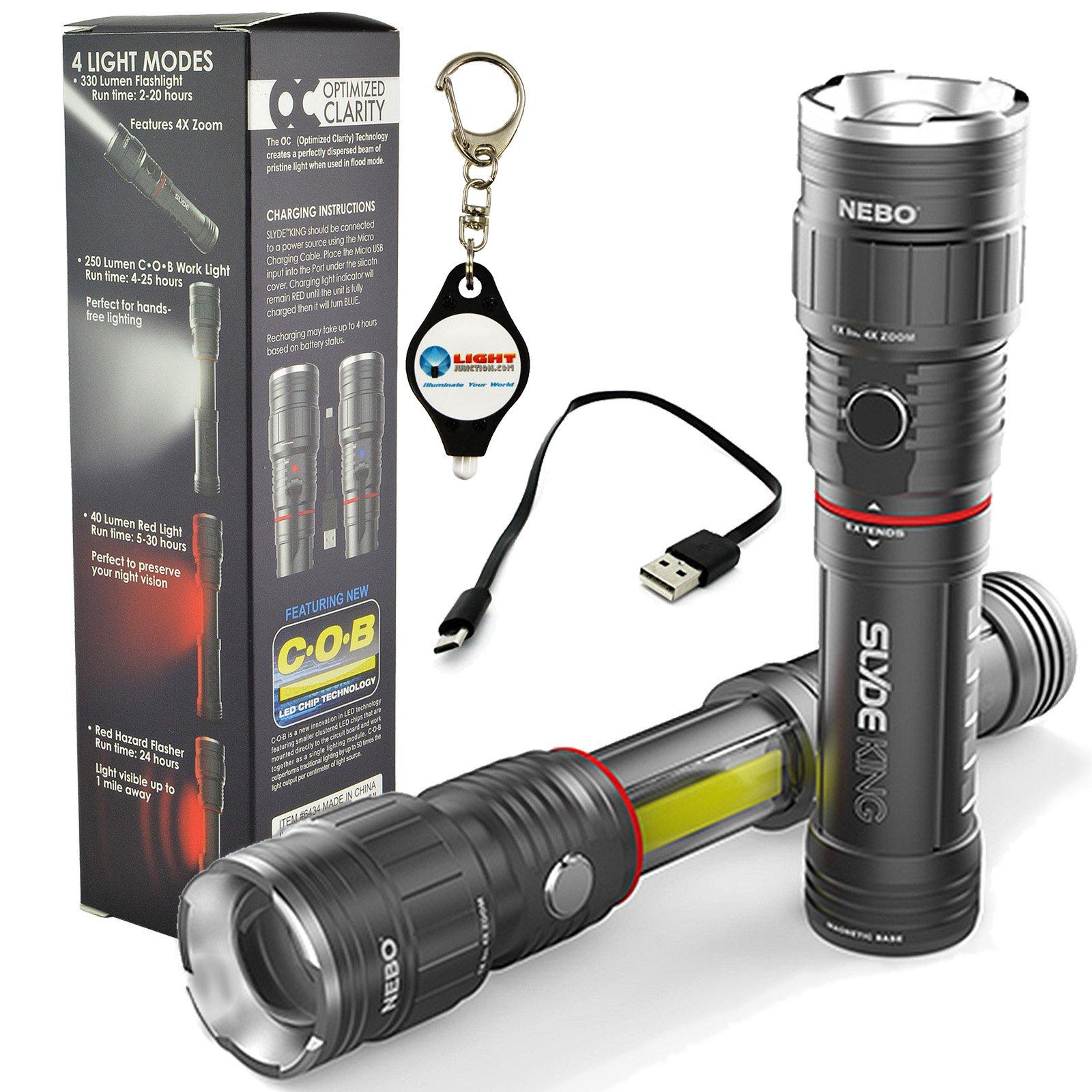 Nebo Slyde King 6434 Rechargeable LED Flashlight Work Light Adjustable Zoom with LightJunction Keychain Light