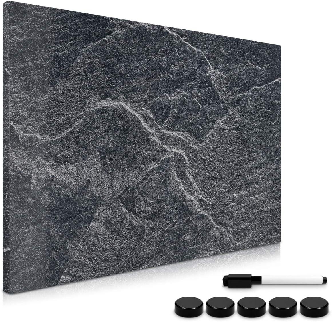Navaris Tablero de Notas magnético - Pizarra con diseño de Piedra Negra - Pizarra magnética con Marcador Negro y 5 imanes