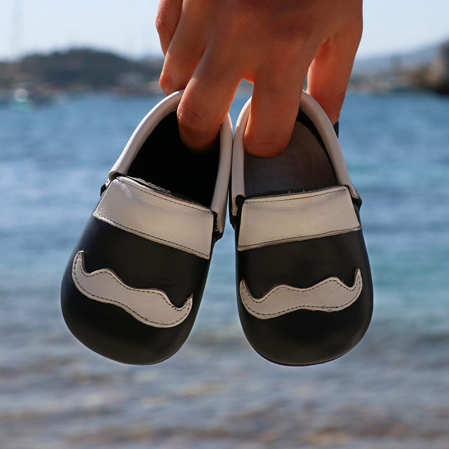 for Baby Boys Girls Toddlers Ella Bonna Baby Cowhide Full Grain Leather Bowtie Shoes Cowhide Sole Handmade Moccasins Flexible Loafers