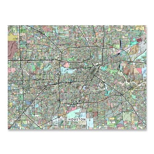 Amazon.com: Houston Map Print, Texas USA, TX Street Art Poster, City on