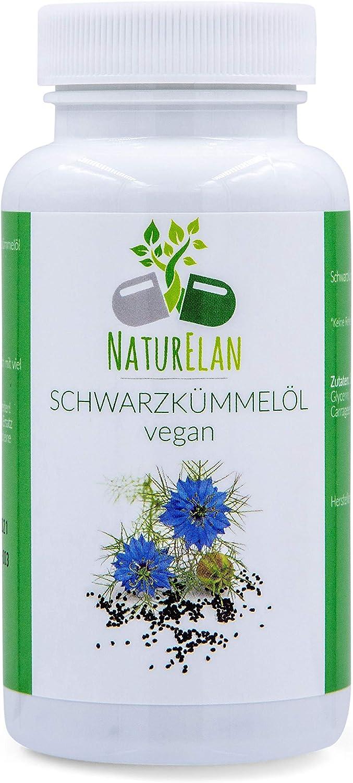 Aceite de comino negro vegano (egipcio) - 90 capsulas - Nigella Sativa - prensado en frío - 1 cápsula de 500 mg de aceite de comino negro - fabricadas en Alemania