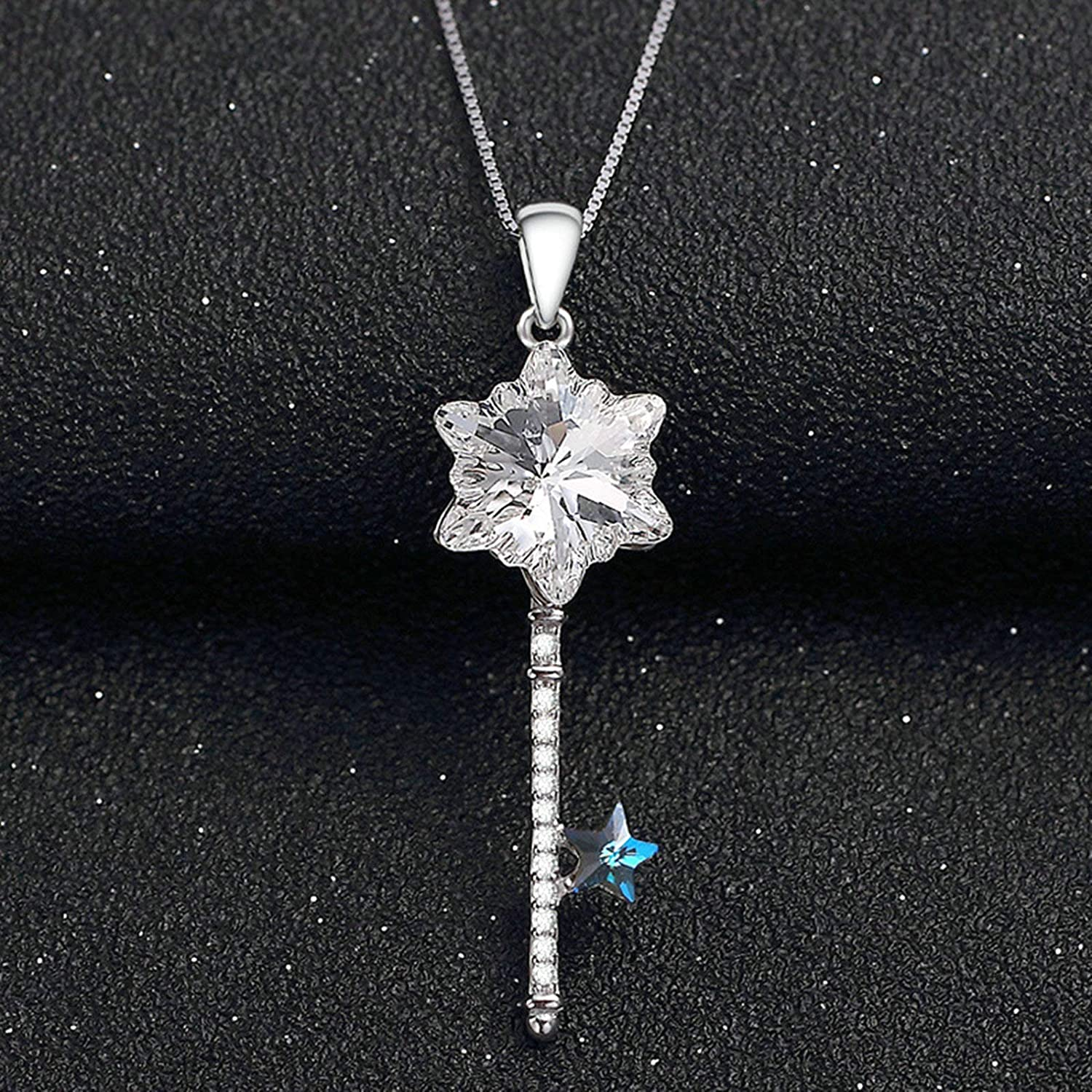 Aooaz Silver Necklace Women Snowflake Stars Cz Necklaces Personalized Silver