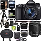 Canon EOS 70D Digital SLR Camera with 18-55mm STM Lens, Polaroid .43x HD Wide Angle Lens, 2.2X HD Telephoto Lens, Polaroid 32GB and Accessory Bundle