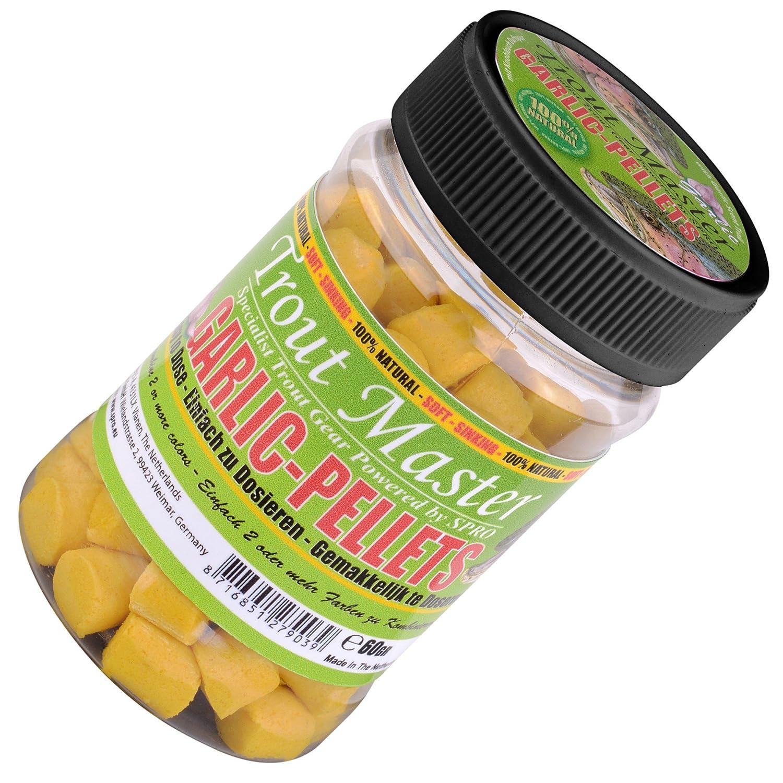 Trout Master Garlic Pellets 60G–Pasta per trote, pellet per la pesca alla trota, Trota Paste per la pesca di trote, Esca, giallo