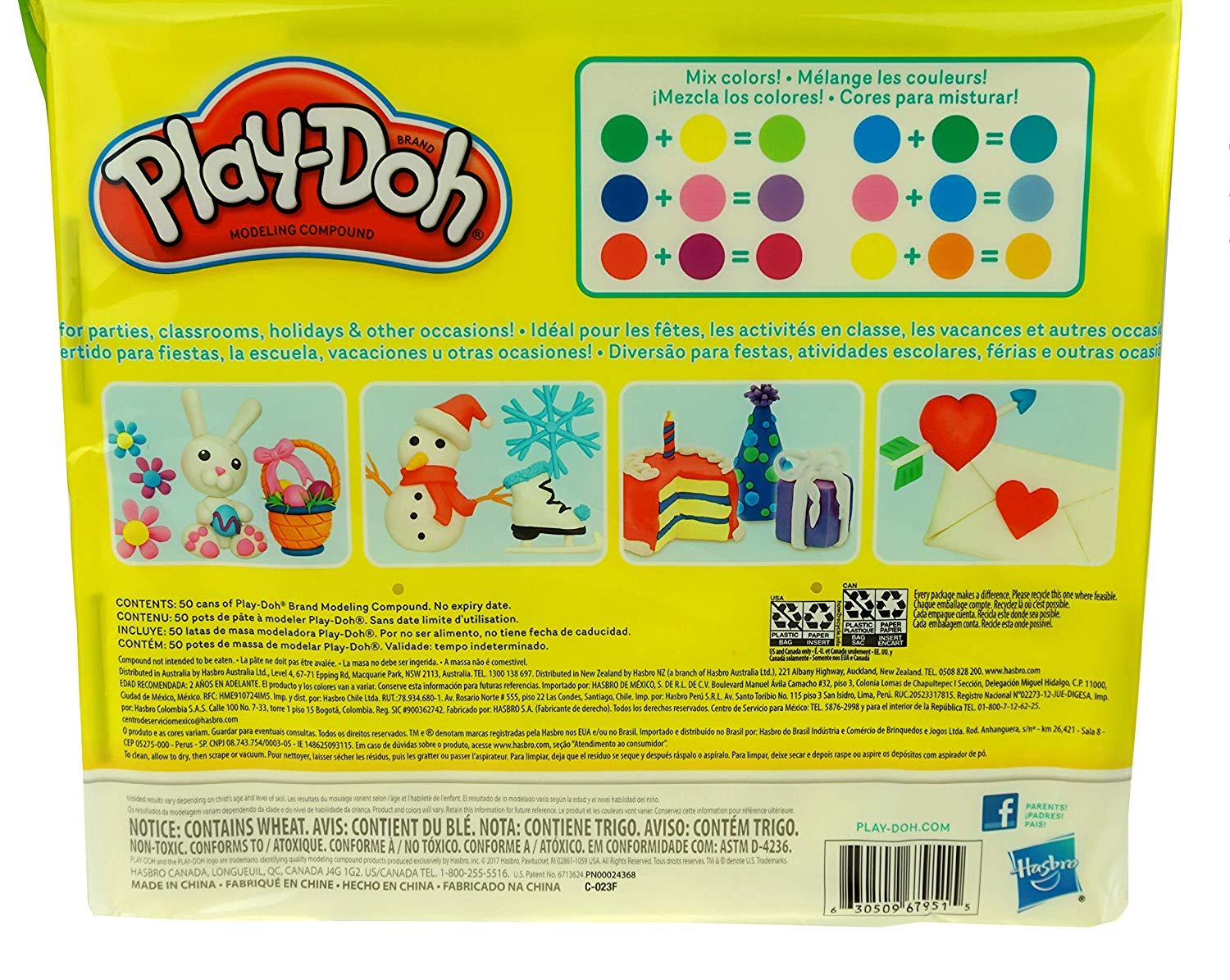 50 Cans - 1 Pack Assorted Colors Play-Doh Modeling Compound 50- Value Pack Case of Colors Non-Toxic Ages 2 and up 1-Ounce Cans