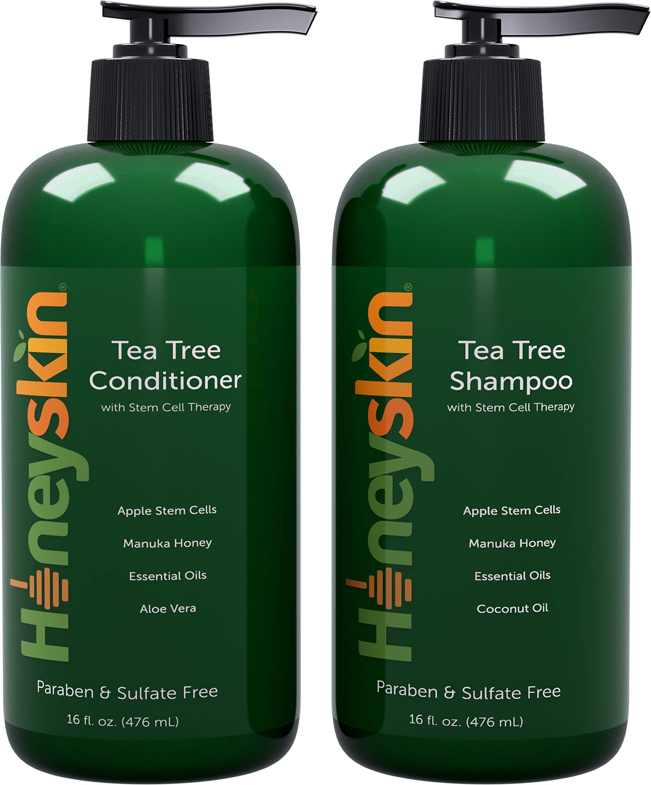 Tea Tree Oil Shampoo Conditioner Set - Manuka Honey, Stem Cell & Coconut - Dandruff & Scalp Acne Treatment - Soothes Itchy Scalp & Deep Conditioner - Paraben & Sulfate Free - Made in USA (16oz) by Honeyskin Organics