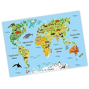 nikima - Kinder Weltkarte Blau Poster Plakat Tiere Erde Wandbild ...