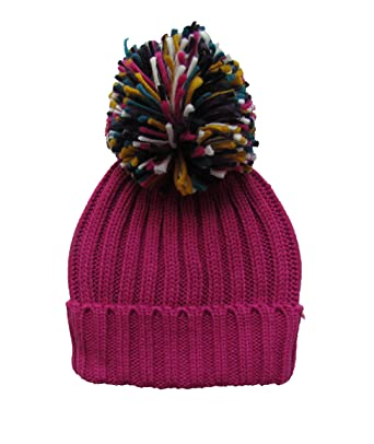 b7147a783 Womens Warm Woolly Knitted Beanie/Bobble Hat with Big Rainbow Pom ...