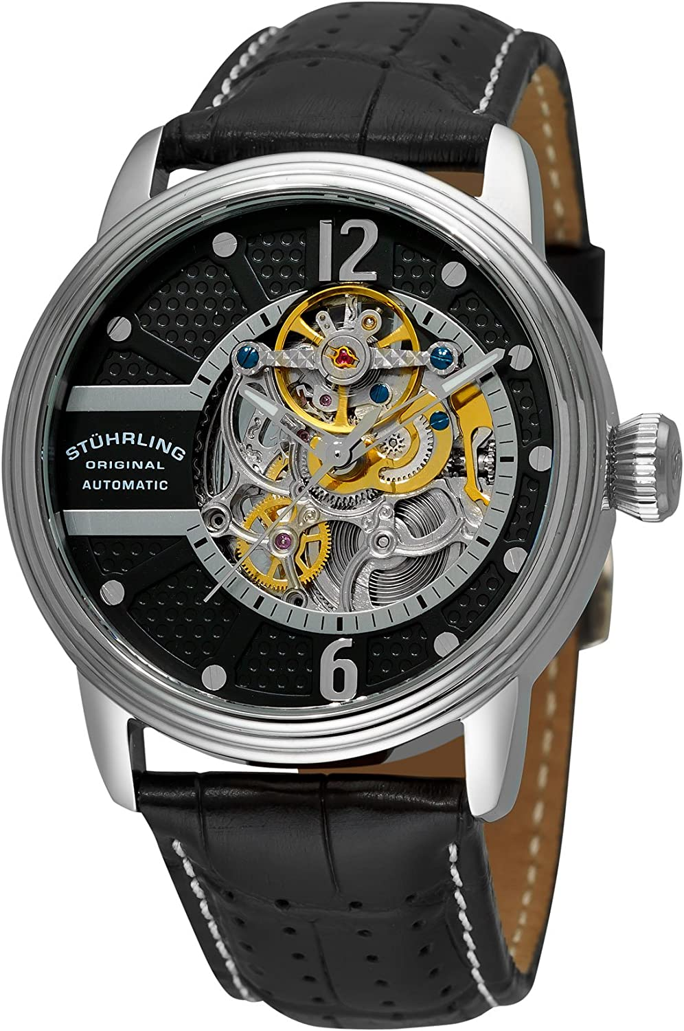 Stuhrling Original Mens Watch – Automatic Self Winding Dress Watch – Skeleton Watches for Men – Leather Watch Strap Mechanical Watch Analog Watch for Men