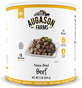 Augason Farms Freeze Dried Beef Chunks 1 lb No. 10 Can, 16 oz (5-11172)