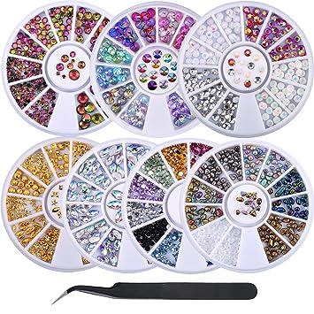 Juego de 7 Cajas de Diamantes de Arte de Uña con Pinzas Diamantes de Ojo de Caballo Pernos de Uñas Gemas de Uñas para Arte de Uñas Decoraciones: Amazon.es: ...