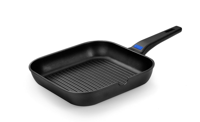 Monix Solid - Grill con rayas cuadrado 24 cm de aluminio fundido con antiadherente Teflon Classic: Amazon.es: Hogar