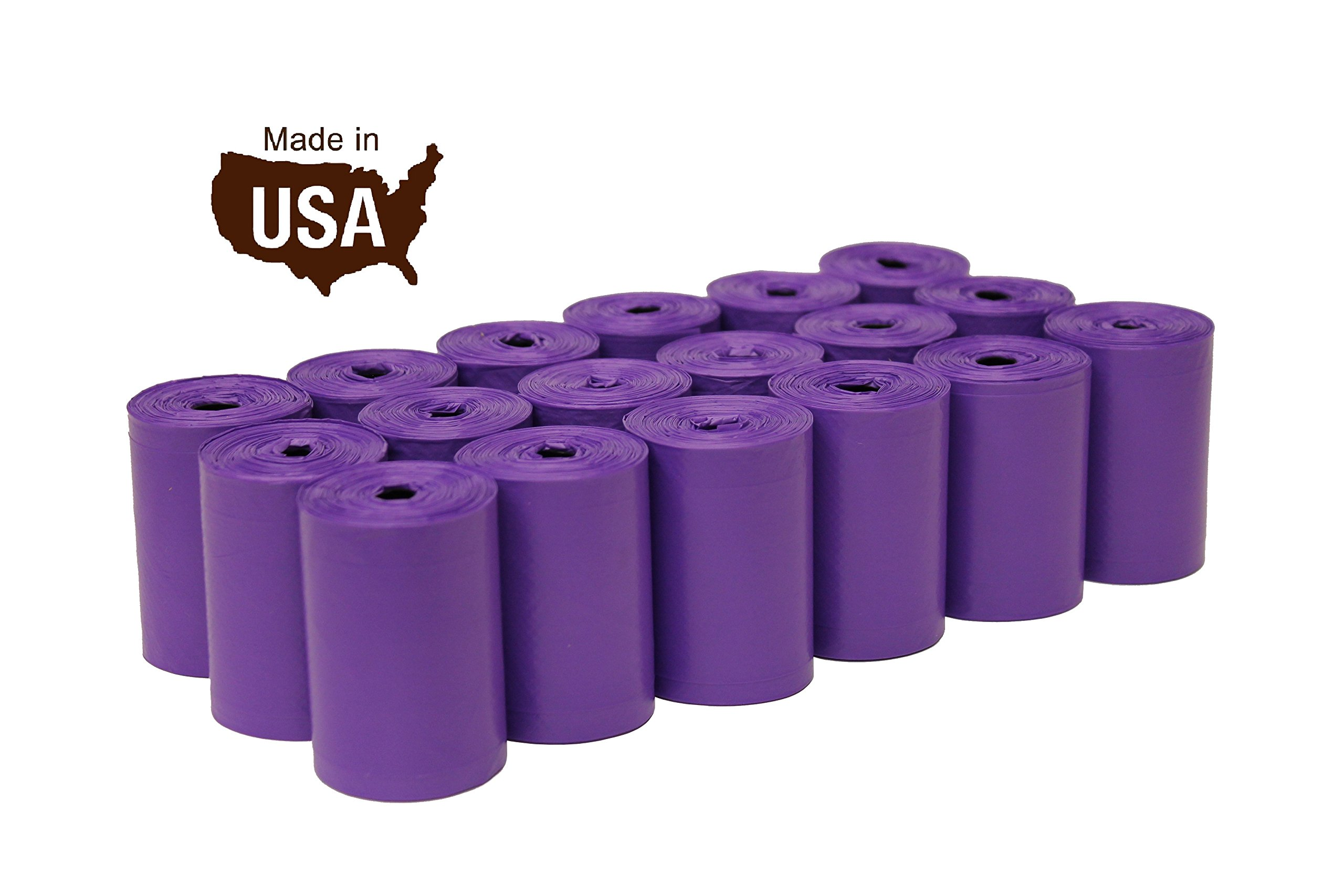 FiveStarPet 9'' x 14.25'' Dog Waste Bags with Dispenser, 18 Refill Rolls, 270 Count, Purple