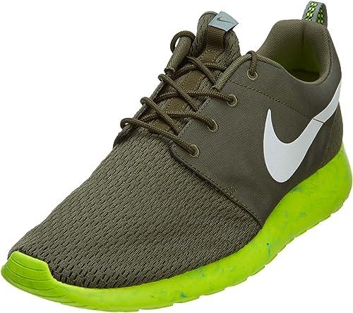 Classic Nike Roshe Run Mens Army Green Yellow Mesh Shoes