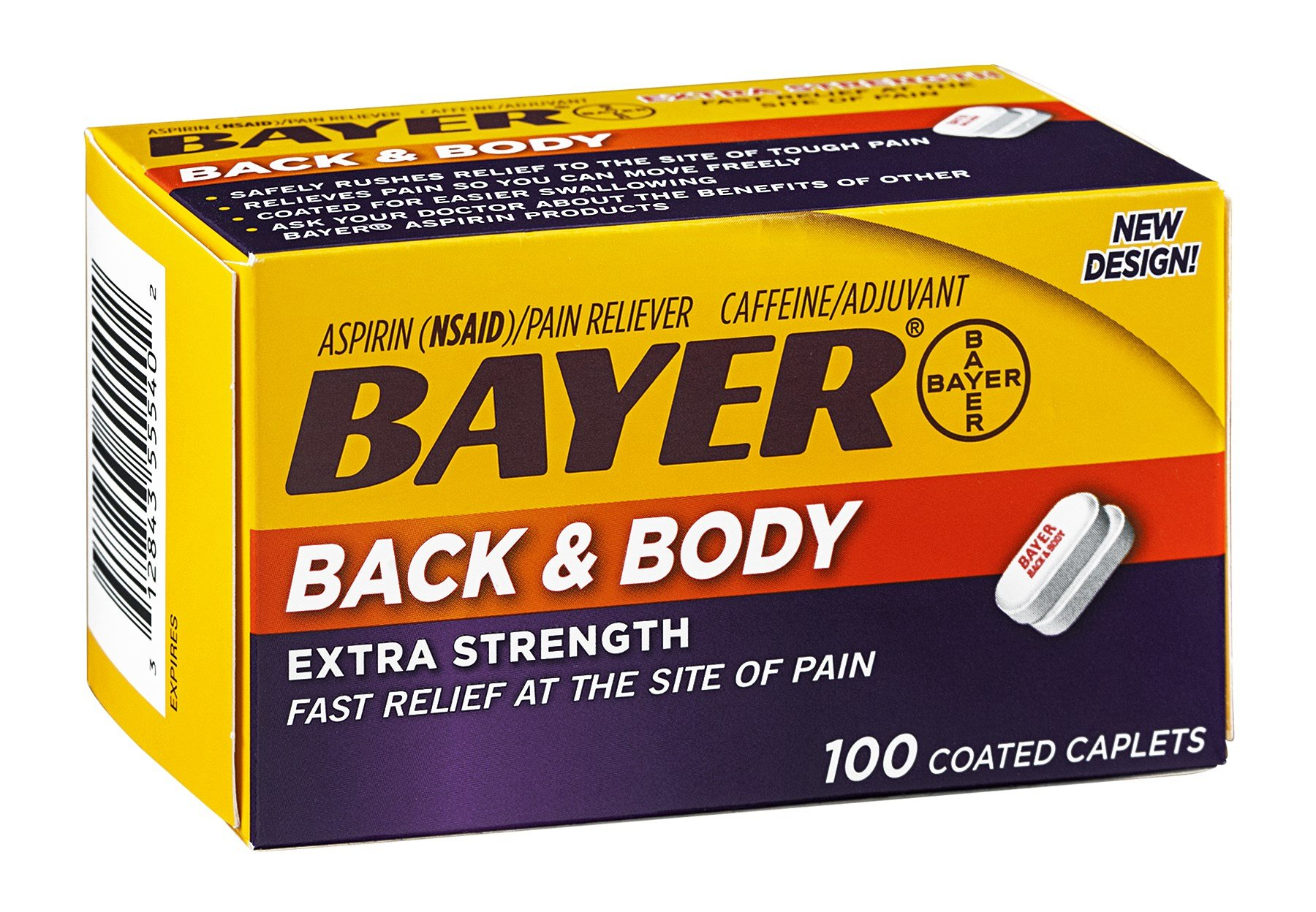 Bayer Extra Strength Back & Body Pain Reliever Coated Caplets , Pack of 9