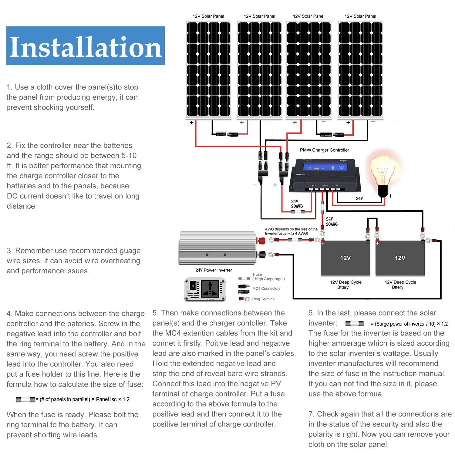 Komaes 400 Watts 12 Volts Monocrystalline Solar Panel 12v Charge Controller Wiring Diagram Garden Outdoor