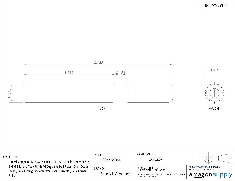 Metric 4 Flutes Sandvik Coromant R216.24 Carbide Corner Radius End Mill 50 Deg Helix 63mm Overall Length TiAlN Monolayer Finish 8mm Shank Diameter 8mm Cutting Diameter 0.5mm Corner Radius