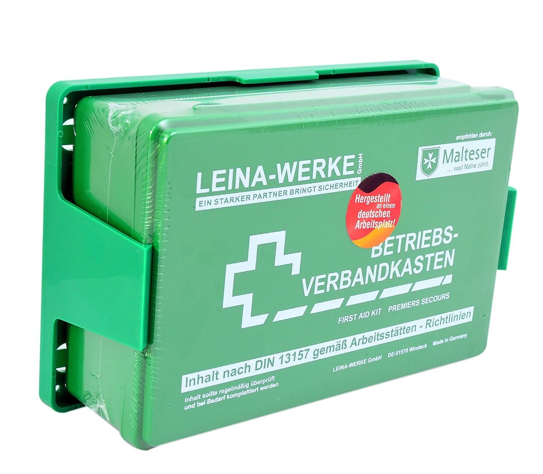 Betriebs Verbandkasten Erste Hilfe Koffer DIN13157 Grü n mit Halterung Made in Germany Spitzenspannung Elektrotechnik MKVB-01