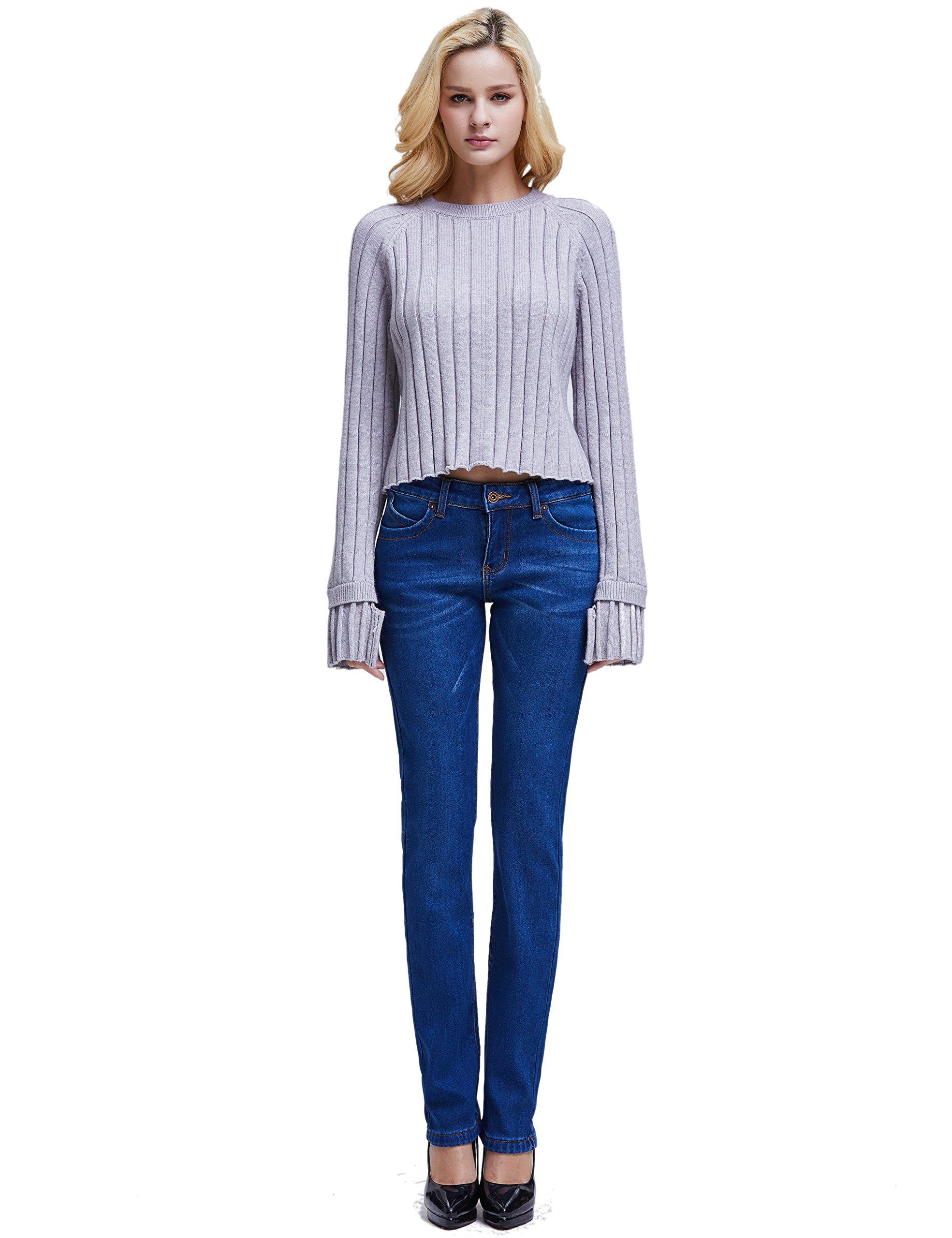 Camii Mia Women's Slim Fit Fleece Lined Jeans (W27 x L30, Blue (New Size)) by Camii Mia (Image #5)