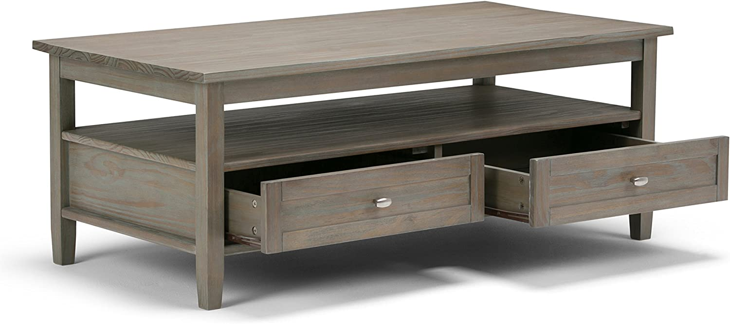 Simpli Home Warm Shaker SOLID WOOD 48 inch Wide Rectangle Rustic Coffee Table in Distressed Grey with Storage, 2 Drawers and 1 Shelf, for the Living Room, Family Room
