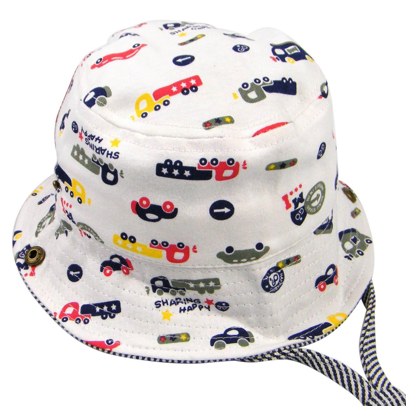 Happy Cherry Toddler Summer Bucket Hat Car Pattern Beach Swim Hat With Strap White M
